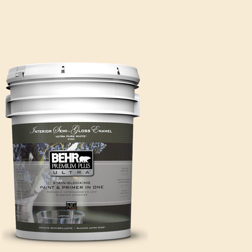 BEHR Premium Plus Ultra 5-gal. #330C-1 Honeysuckle White Semi-Gloss Enamel Interior Paint