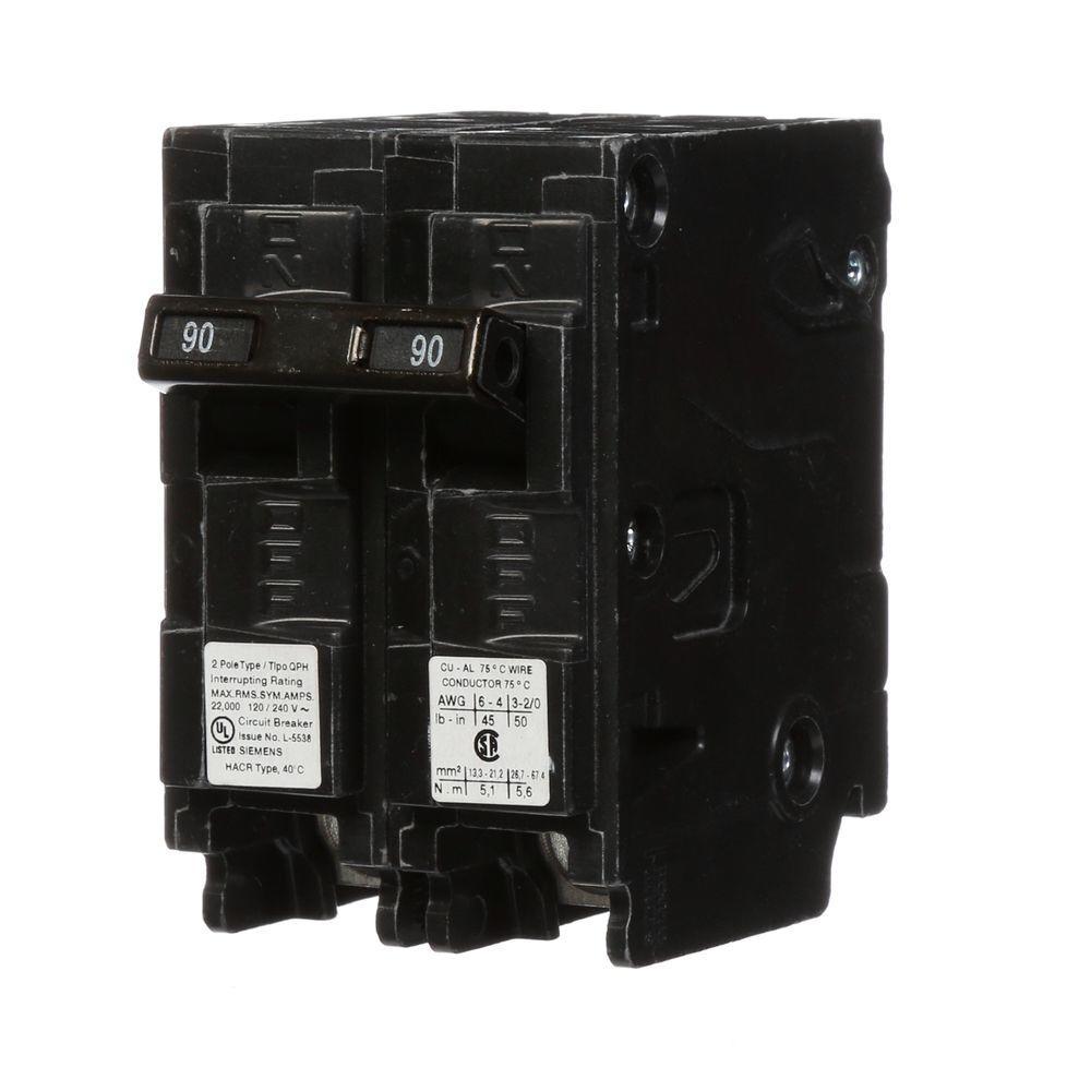 90 Amp Double-Pole Type QPH 22kA Circuit Breaker