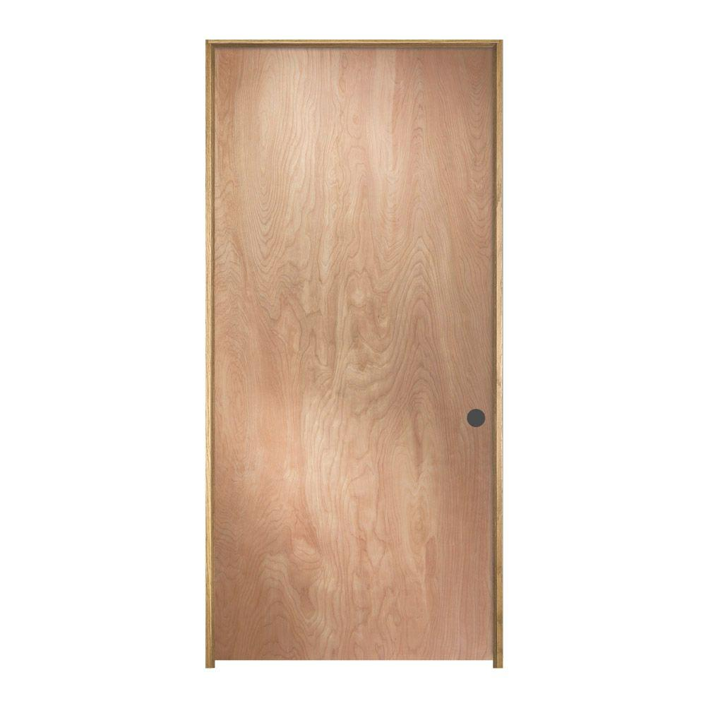 Jeld wen 28 in x 80 in birch unfinished left hand flush for Hardwood interior doors
