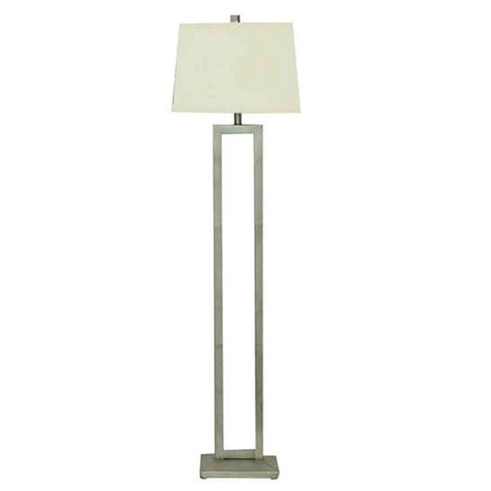 Captivating Hampton Bay 60.50 In. Painted Silver Leaf Dual Pole Floor Lamp
