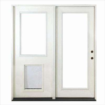 72 in. x 80 in. Fiberglass Primed White Prehung Left-Hand Inswing Center-Hinged Patio Door