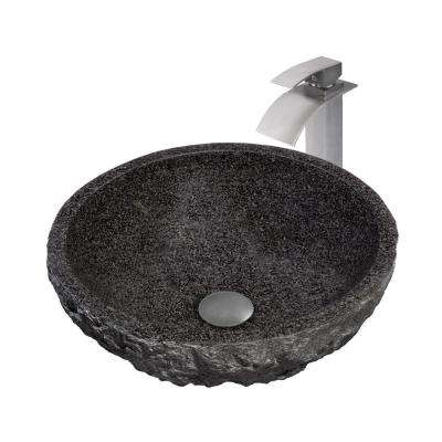 Stone Vessel Sink in Black with Sealer, Drain and Faucet in Brushed Nickel
