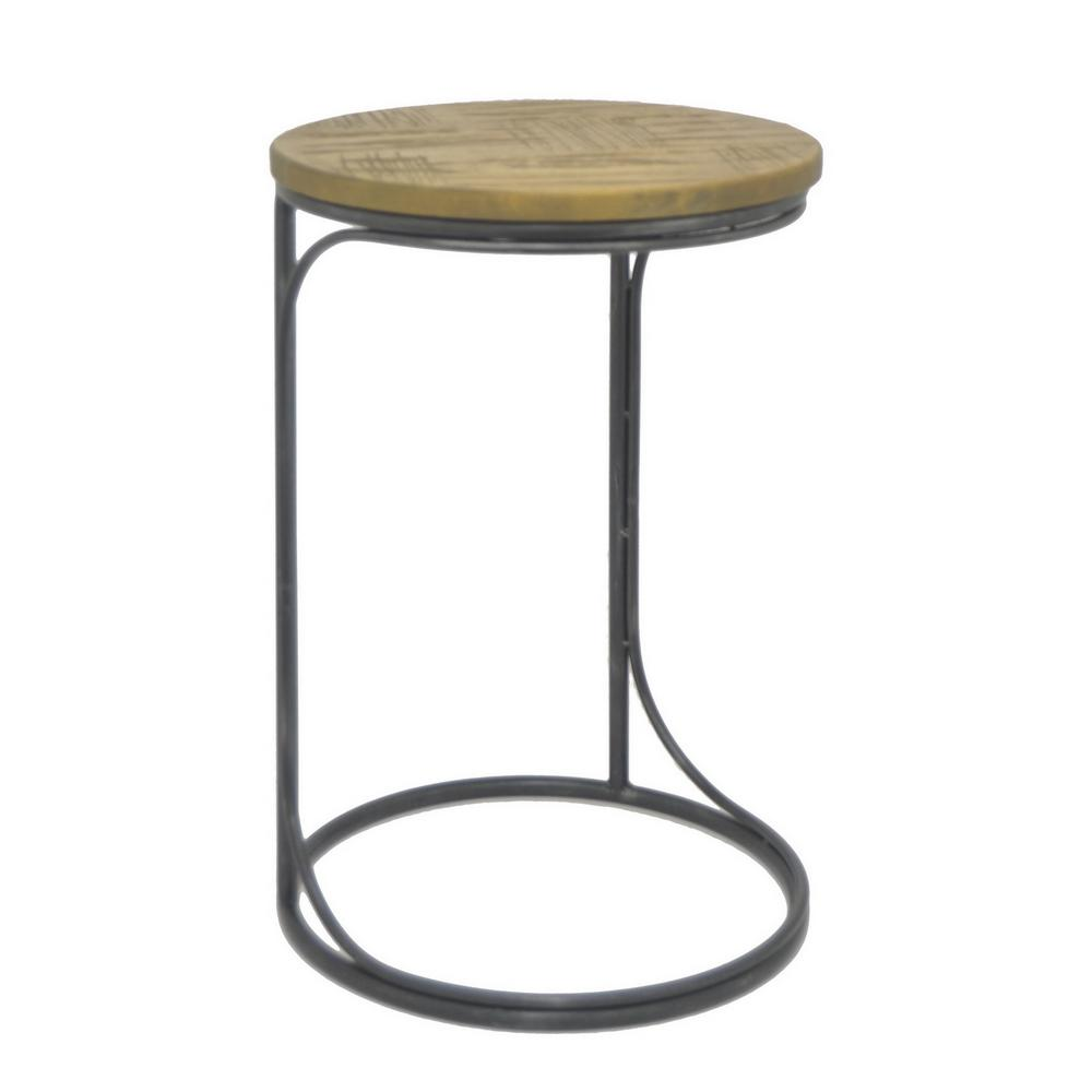 nice Three Hands End Table Part - 5: THREE HANDS 24 in. Black Metal and Wood Accent Table