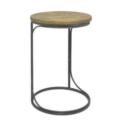 24 in. Black Metal and Wood Accent Table