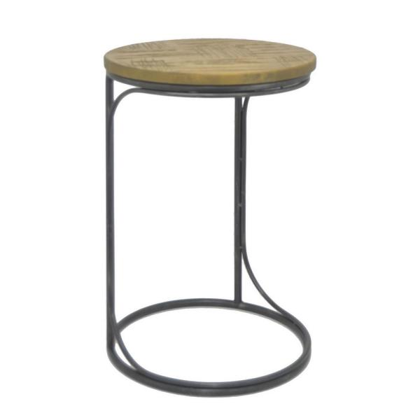 Black Metal And Wood Accent Table