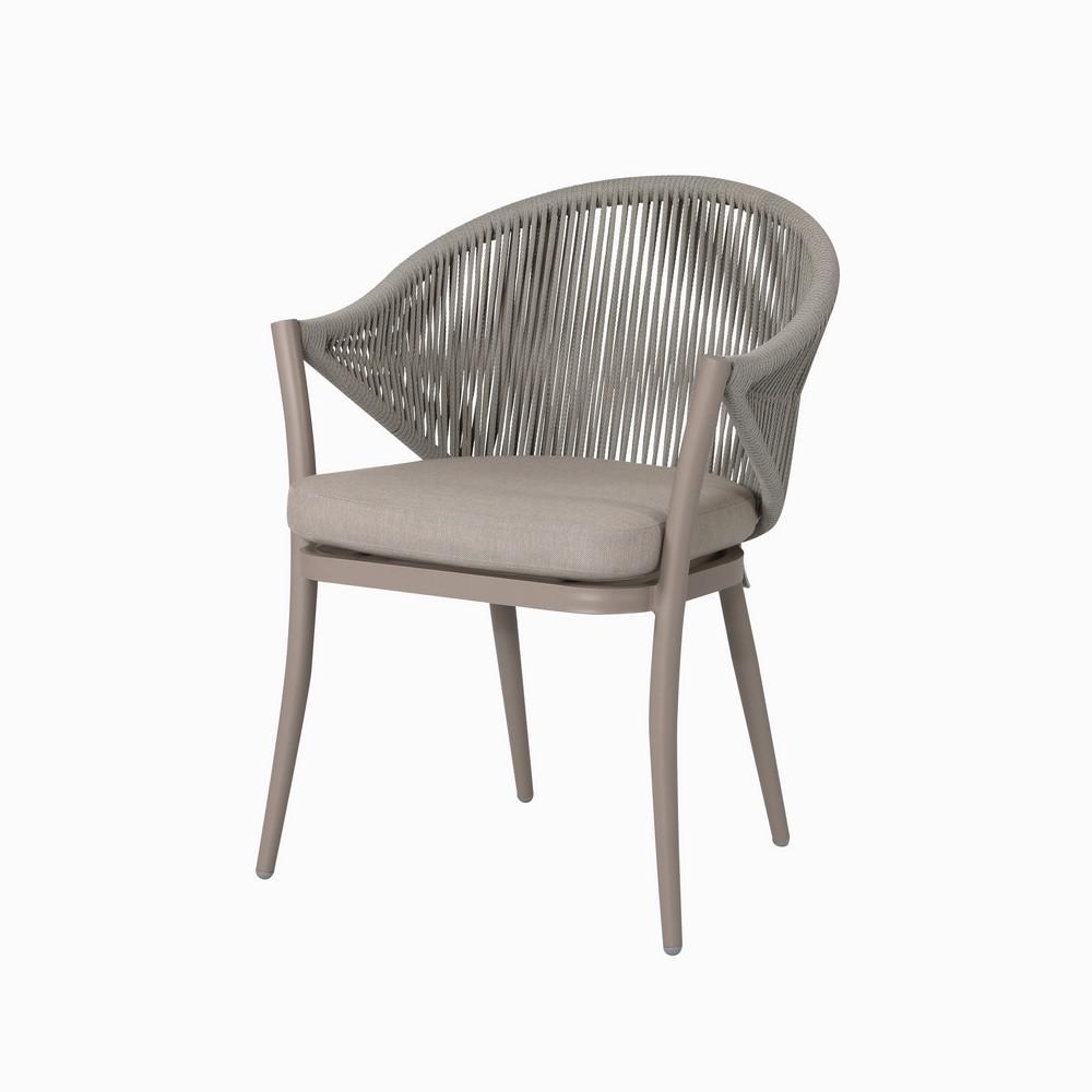 Phenomenal Nuu Garden Stationary Aluminum Woven Rope Outdoor Dining Chair With Beige Cushions 2 Pack Inzonedesignstudio Interior Chair Design Inzonedesignstudiocom