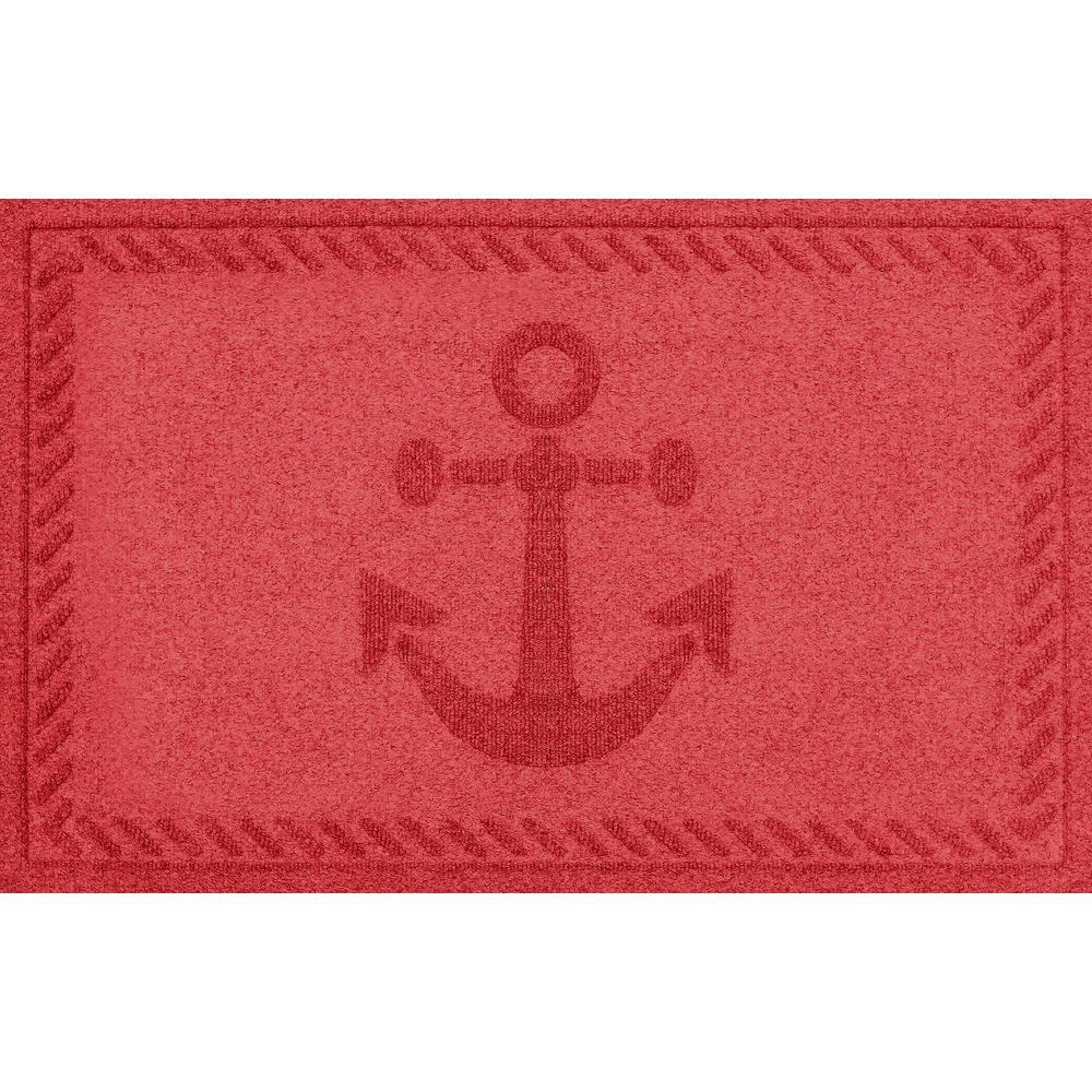 Solid Red 24 in. x 36 in. Ships Anchor Polypropylene Door Mat