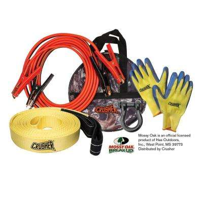 Emergency Recovery 16 ft. Booster Jumper Cables 6 Ga, 30' Tow Rope Strap, D-Ring, Gloves, High Quality Camo Storage Bag