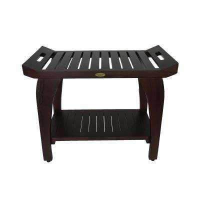 Tranquility 30 in. Extended Height Teak Shower Bench with Shelf