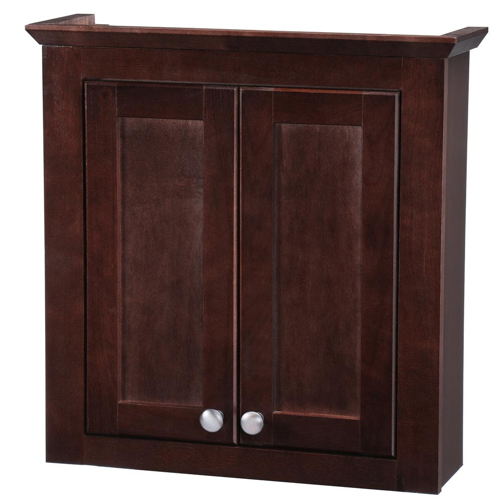 Glacier Bay Modular 21-1/8 in. W x 21-3/4 in. H x 6-9/10 in. D Bathroom Storage Wall Cabinet in Java