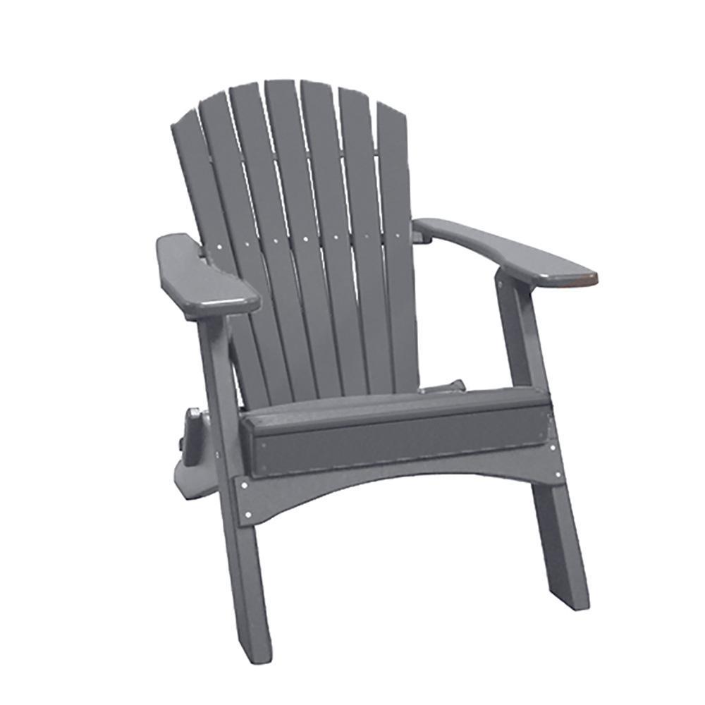 Gray Folding Recycled Poly-Lumber Adirondack Chair
