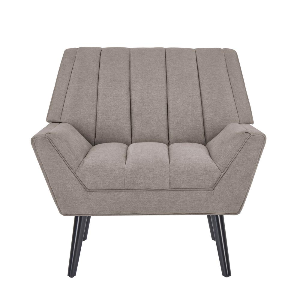 Rochelle Smoke Gray Plush Low-Pile Velvet Mid Century Modern Arm Chair