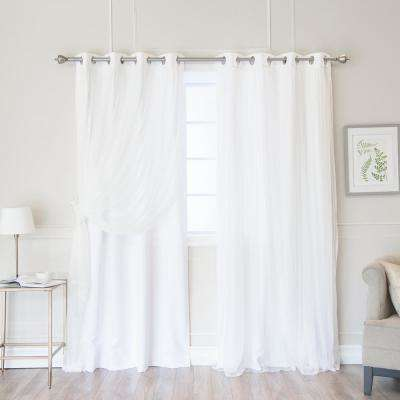 White 108 in. L Marry Me Lace Overlay Room Darkening Curtain Panel (2-Pack)