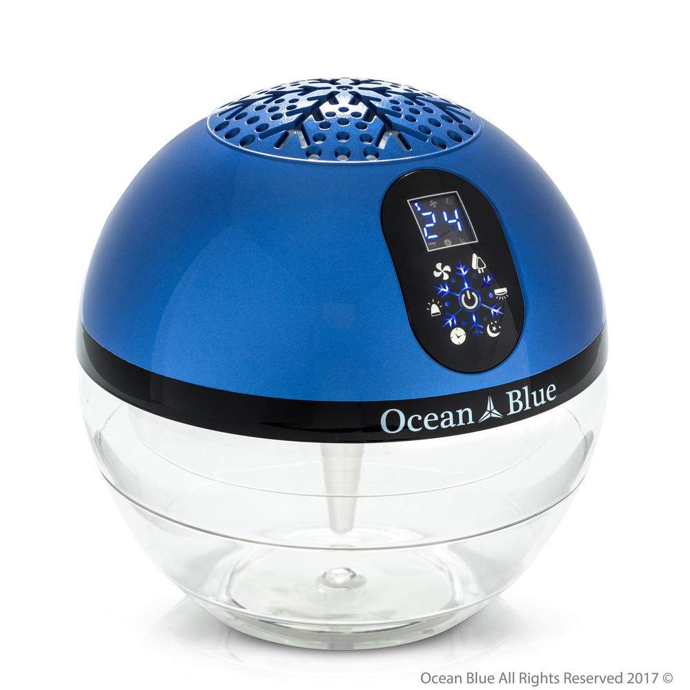 ROCKY MOUNTAIN VACUUM BR Ocean Blue Water Based Air Purifier Humidifier and Aromatherapy Diffuser with LED Screen, Blues OceanBlue Air Purifier, Humidifier and Aromatherapy Diffuser. This works as an air humidifier, deodorizer, purifier, aromatherapy and fragrance machine. For aromatherapy or to use as air freshener add a few drops (sold separately) of fragrance into water bowl and turn on. The OceanBlue water based purifier will keep the air in your area clean and pleasant smelling and you will save time and money by never having to buy a filter. This purifier uses a UV germicidal bulb to kill air born germs and the filtration works similar to a rainstorm by using a water bath to catch impurities and clean your breathing air which will help keep your allergies in check. This OceanBlue also works as a humidifier by pushing moisture into the air and leaving the impurities behind in the water bowl to be disposed of. The best part is that this purifier does not over dispense moisture so you will never have to worry about water left behind and is safe to use in any area. Use as a night light or to add fun to any room by using 7 color cycling built in LED lights. Color: Blues.