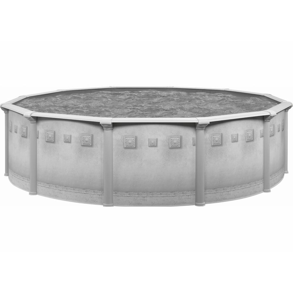 Palisades 27 ft. Round x 52 in. Deep Metal Wall Above Ground Pool Package with Entry Step System
