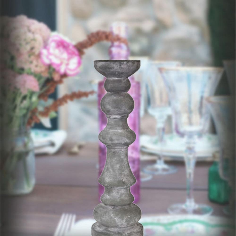 Antique Gray Finish Designer Large Sized Candle Holder
