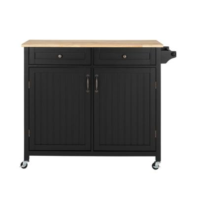 Bainport Black Kitchen Cart with Butcher Block Top