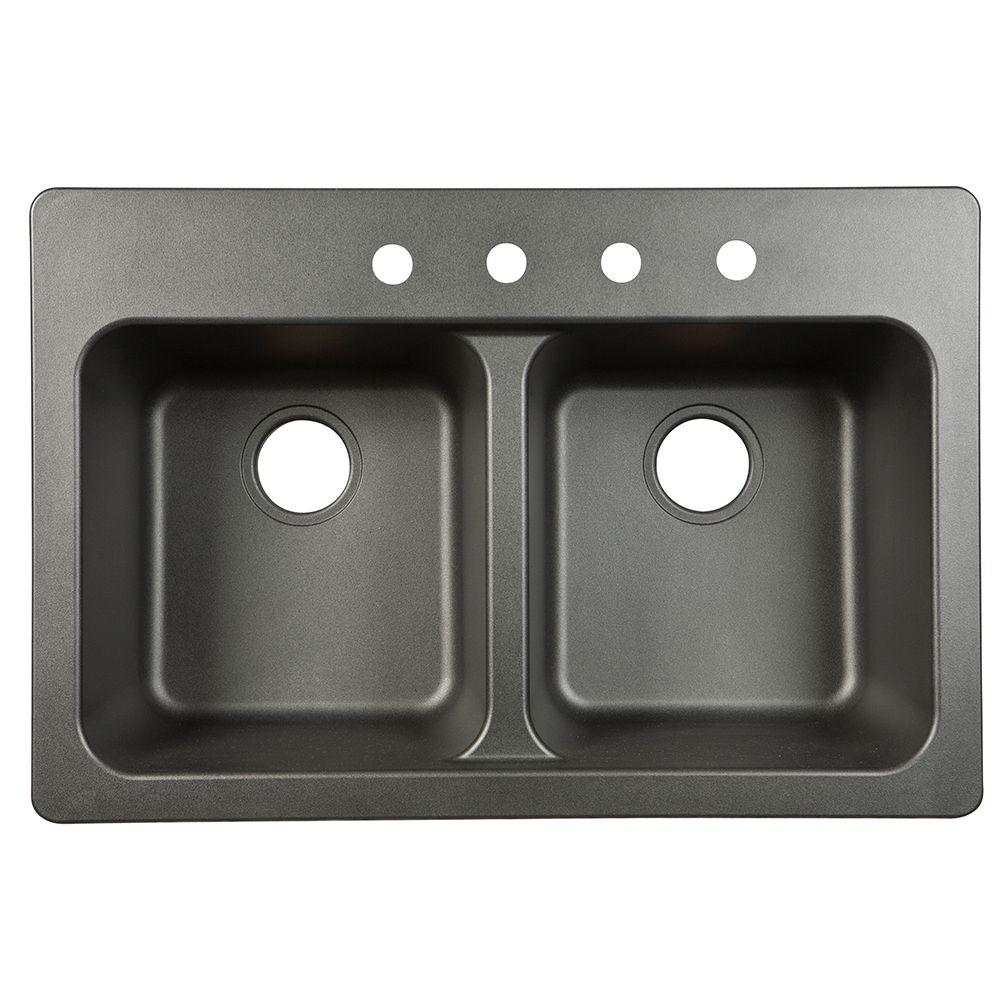 Franke Dual Mount Tectonite Composite 33x9x22 4 Hole Double Bowl Kitchen  Sink In Black FTB904BX   The Home Depot