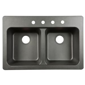 Franke Dual Mount Tectonite Composite 33x9x22 4-Hole Double Bowl Kitchen Sink in Black by Franke