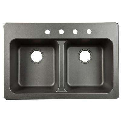 Dual Mount Granite Composite 33 in. 4-Hole Double Bowl Kitchen Sink in Black