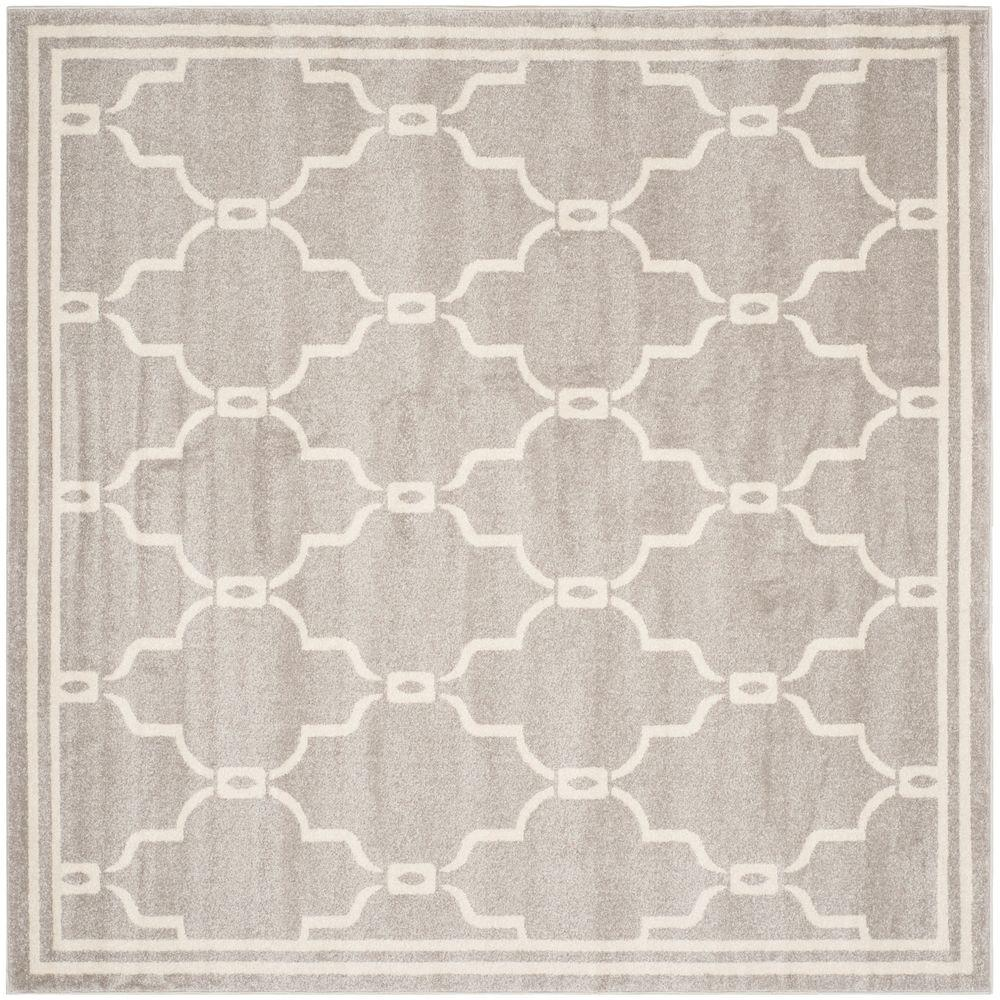 Safavieh Amherst Light Gray/Ivory 5 ft. x 5 ft. Indoor/Outdoor Square Area Rug