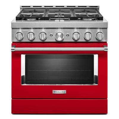 36 in. 5.1 cu. ft. Smart Commercial-Style Gas Range with Self-Cleaning and True Convection in Passion Red