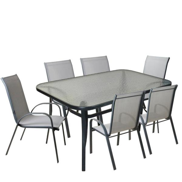 7b7fec3ef CC Outdoor Living 7-Piece Gray and Black Outdoor Textilene Mesh and Steel  Patio Dining