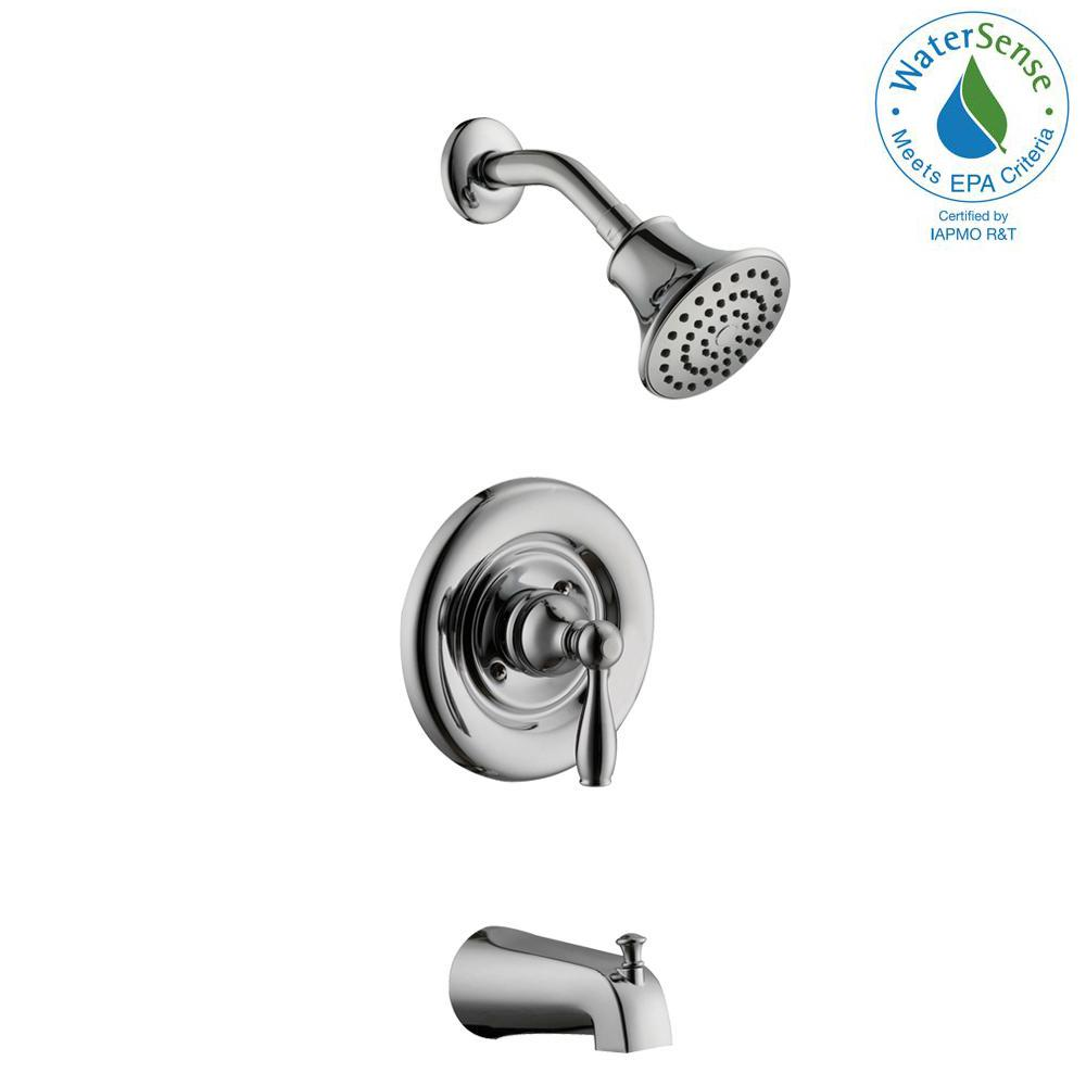 Glacier Bay Mandouri Single-Handle 1-Spray Tub and Shower Faucet in Chrome (Valve Included)