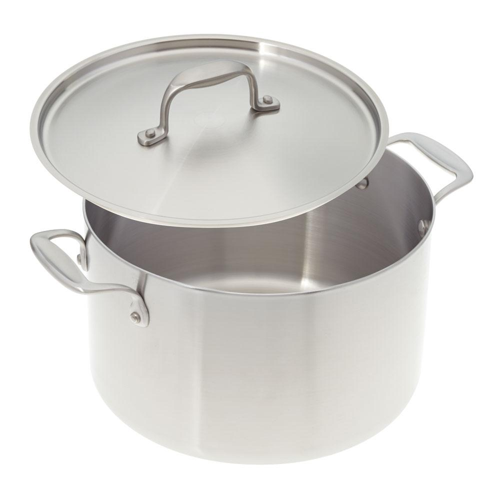 American Kitchen 8 Qt Premium Stainless Steel Stock Pot With Cover Ak008 Do The Home Depot