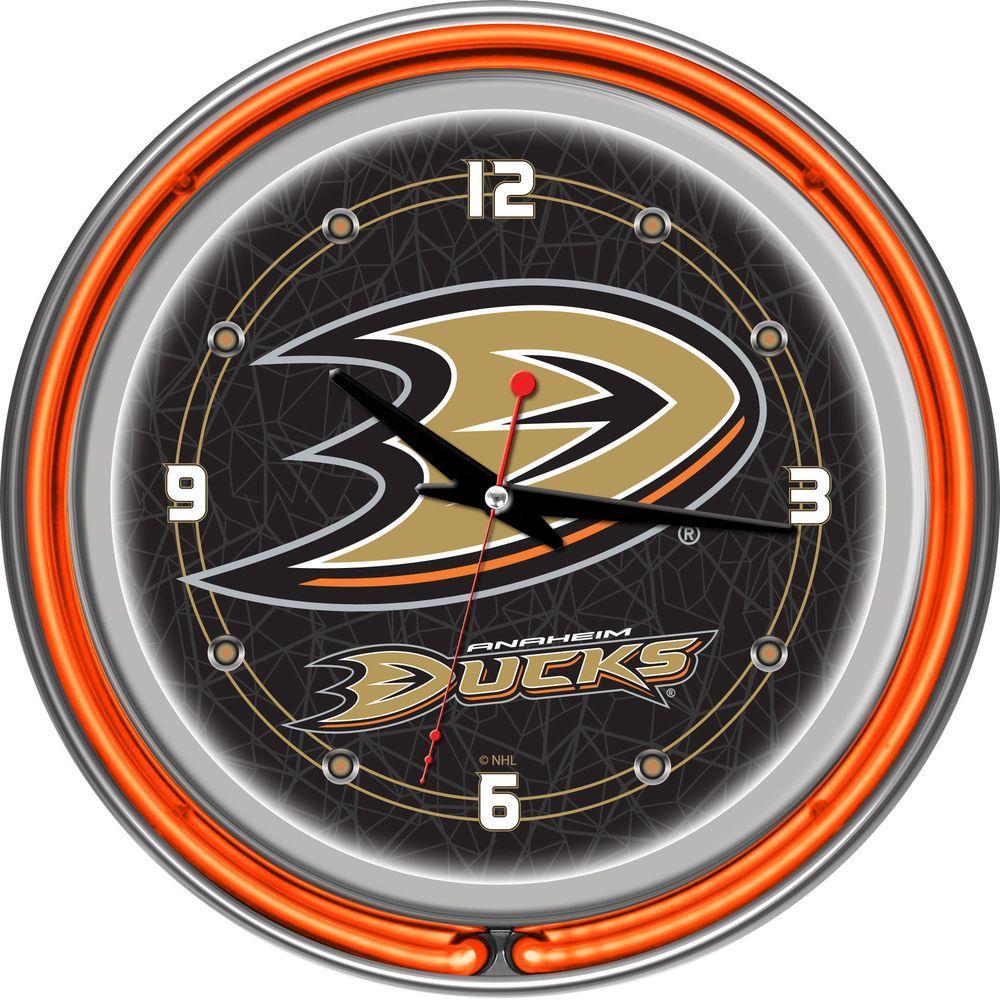 Trademark 14 in. Anaheim Ducks NHL Neon Wall Clock