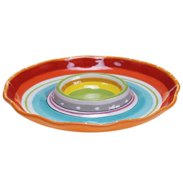Certified International Mariachi Multi-Colored 13.5 in. Chip and Dip Server