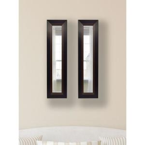 11.75 inch x 29.75 inch Brown Lining Vanity Mirror (Set of 2-Panels) by