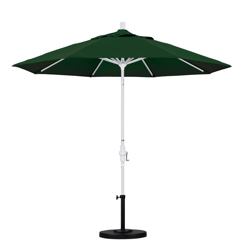 9 ft. Aluminum Collar Tilt Patio Umbrella in Hunter Green Pacifica
