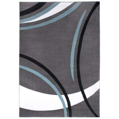 Contemporary Wavy Circles Gray 5 ft. 3 in. x 7 ft. 3 in. Indoor Area Rug