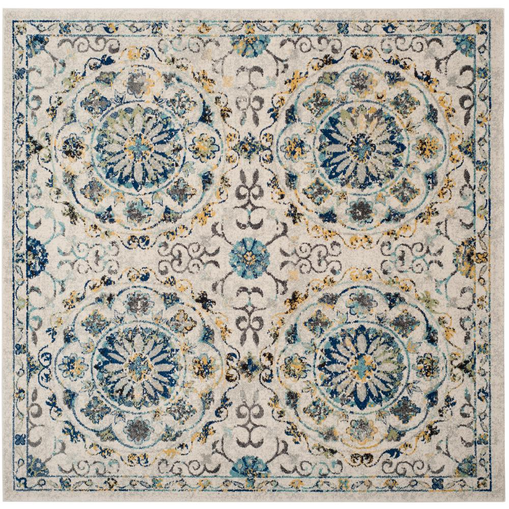 Evoke Ivory Blue 7 Ft X Square Area Rug