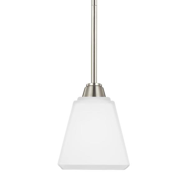 Parkfield 1-Light Brushed Nickel Pendant with LED Bulb