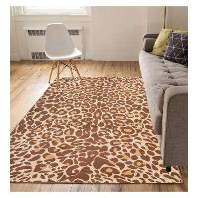 Miami Cocoa Leopard Brown 4 ft. x 5 ft. Animal Print Area Rug