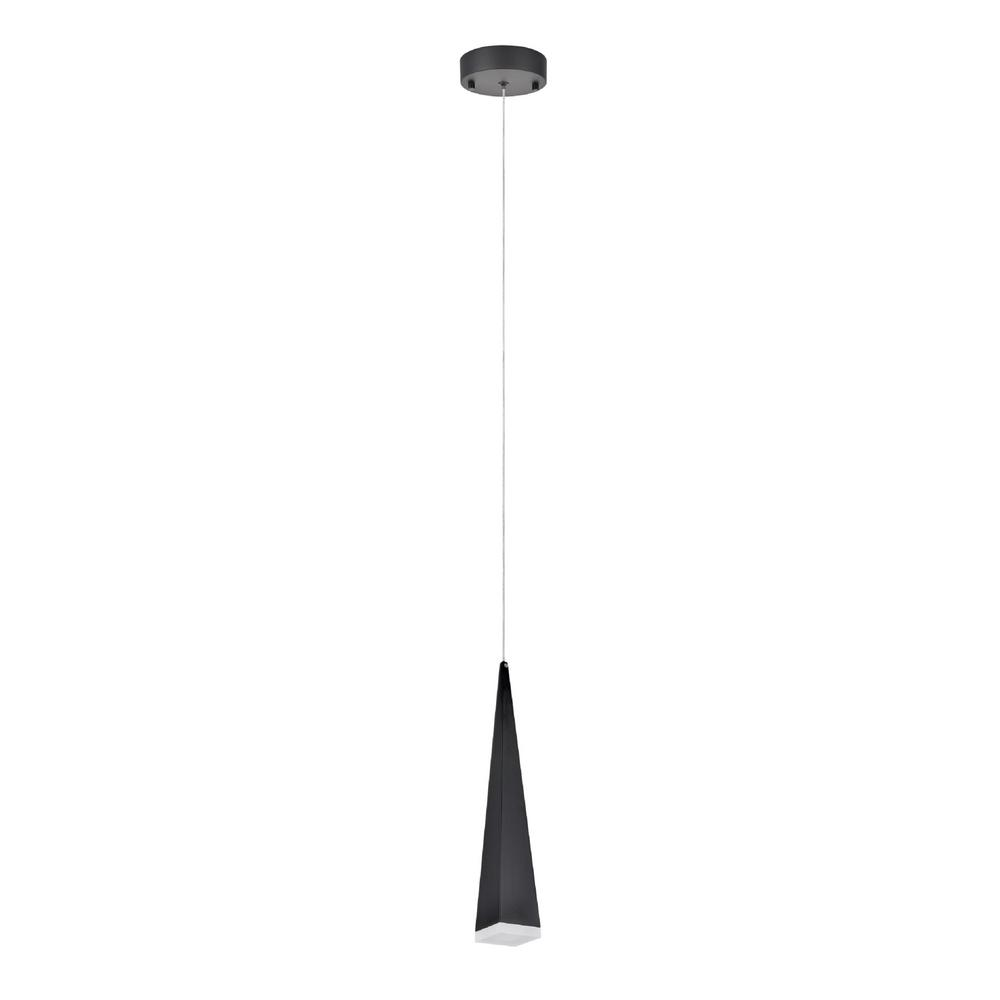 1-Light Black Integrated LED Mini Pendant with Metal Shade