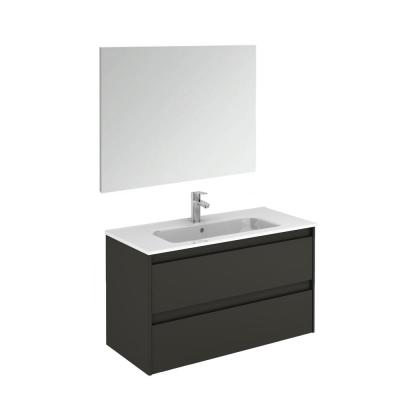 39.8 in. W x 18.1 in. D x 22.3 in. H Complete Bathroom Vanity Unit in Anthracite with Mirror