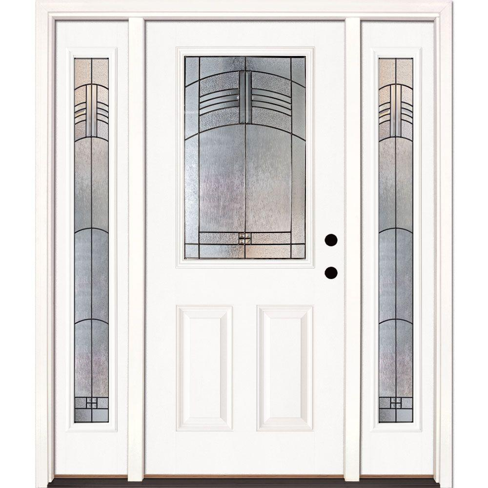 Feather River Doors 63.5 in. x 81.625 in. Rochester Patina 1/2 Lite Unfinished Smooth Left-Hand Fiberglass Prehung Front Door with Sidelites