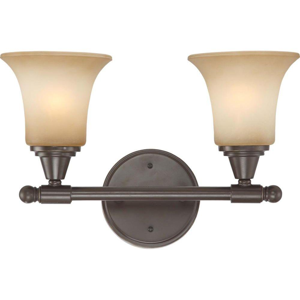 2-Light Vintage Bronze Vanity Fixture with Auburn Beige Glass
