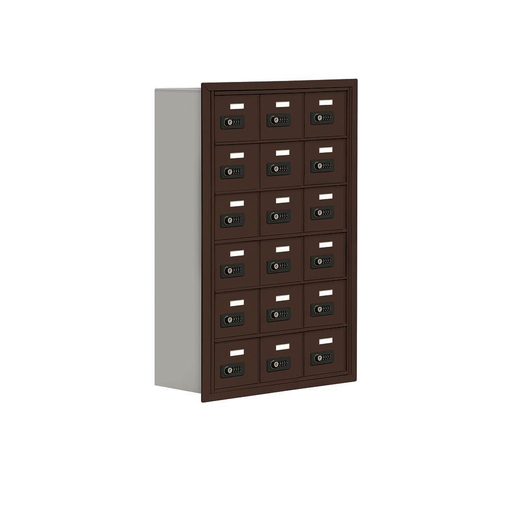 Salsbury Industries 19000 Series 24 in. W x 36.5 in. H x 8.75 in. D 18 A Doors R-Mounted Resettable Locks Cell Phone Locker in Bronze
