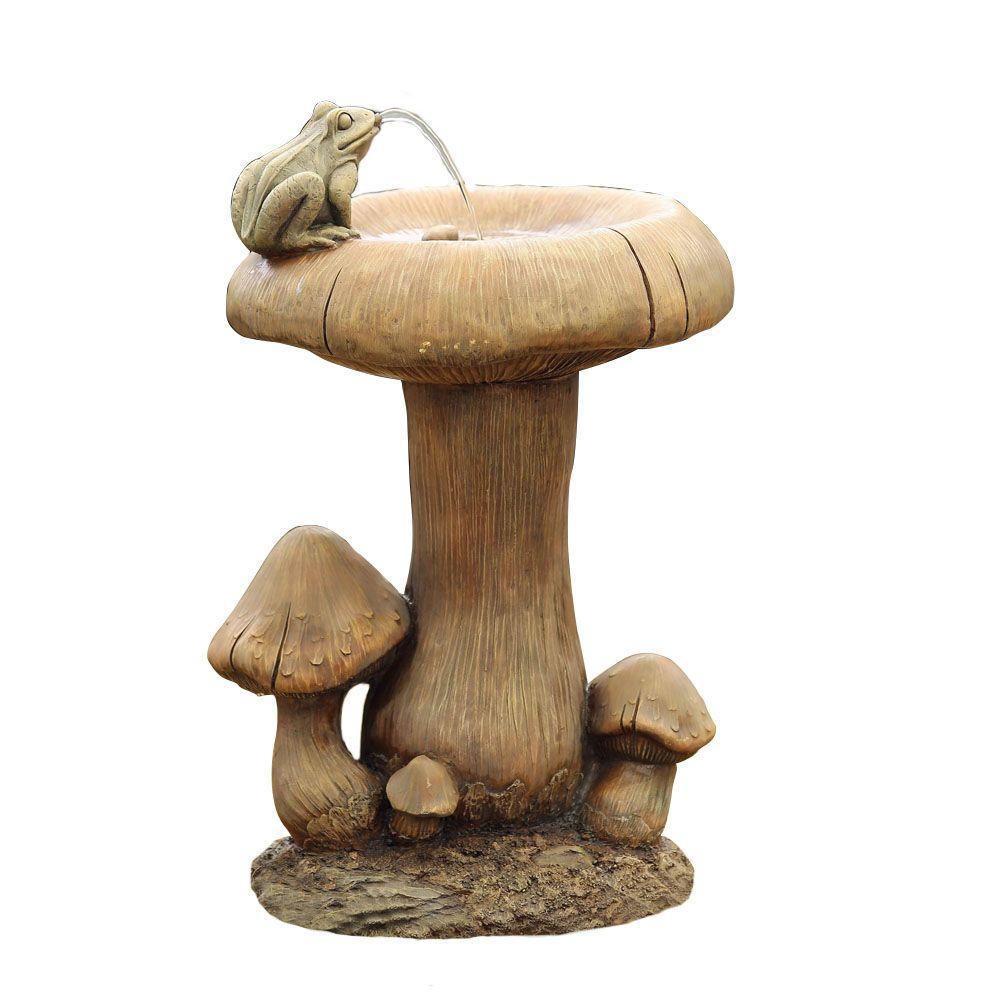Mushroom and Frog Water Fountain, Gray
