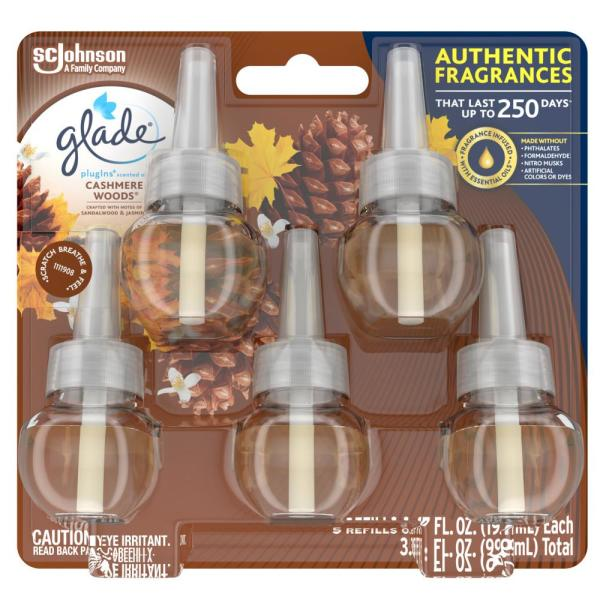 3.35 fl. oz. Cashmere Woods Scented Oil Plug-In Air Freshener Refill (5-Pack)