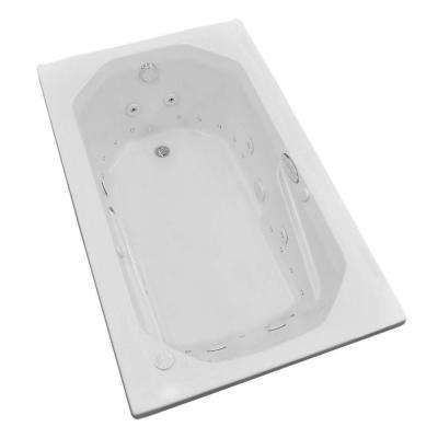 Onyx Diamond Series 5 ft. Left Drain Rectangular Drop-in Whirlpool and Air Bath Tub in White