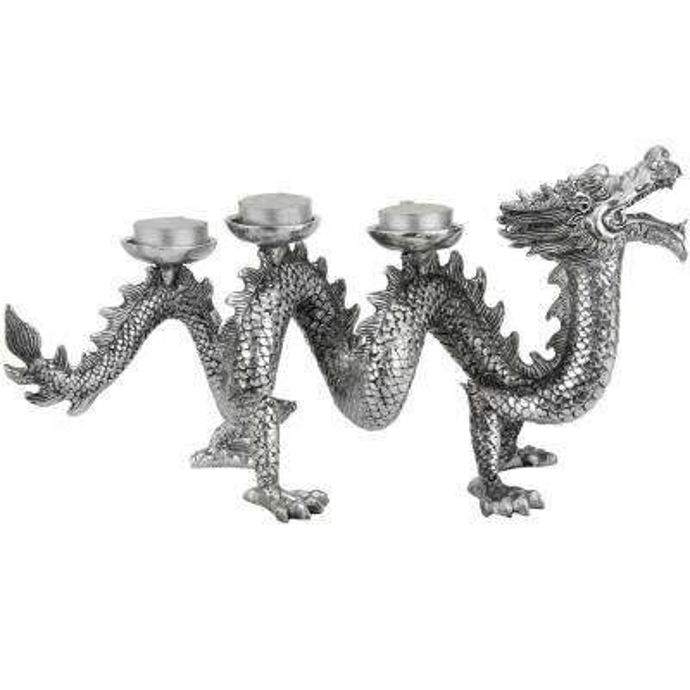 Oriental Furniture 14 in. Plated Dragon Decorative Statue