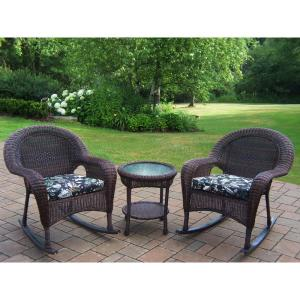 Coffee 3-Piece Wicker Outdoor Bistro Set with Black Floral Cushions by