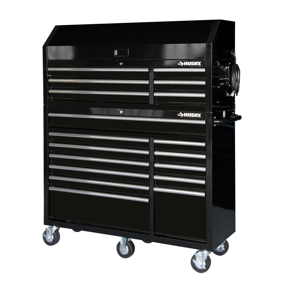 18 Drawer Tool Chest And Rolling Cabinet Combo Black Hotc5218b11s The Home Depot