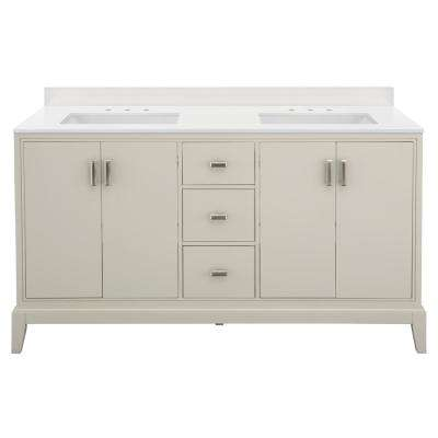 Shaelyn 61 in. W x 22 in. D Bath Vanity in Rainy Day with Engineered Marble Vanity Top in Winter White with White Sinks