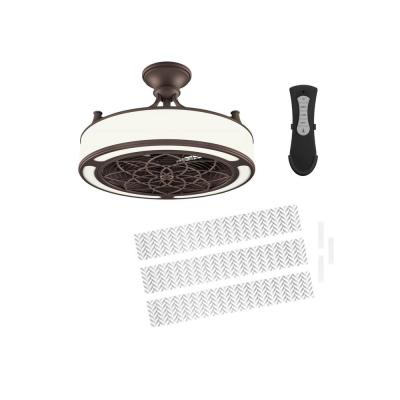Anderson 22 in. LED Indoor/Outdoor Bronze Ceiling Fan with Remote Control and Chevron Insert Panel